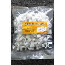 Cable Clip 8mm White 100 Pcs For RG6 Cable